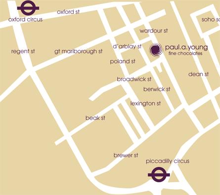 Map Soho London.Wardour Street Soho Paul A Young Fine Chocolates